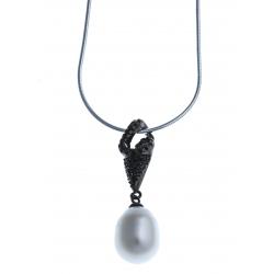 Collier en argent rhodié 4,8g 2 tons - perle véritable blanche zircons noirs 40