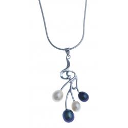Collier en argent rhodié 4,1g - perles véritables blanches et noir 40 cm