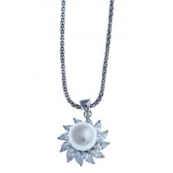 Collier en argent rhodié 4,8g - perle véritable blanche - zircons - 45 cm