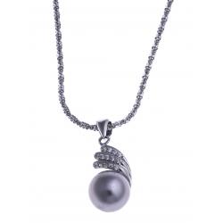Collier en argent rhodié 3,3g - perle véritable grise - zircons - 40 cm