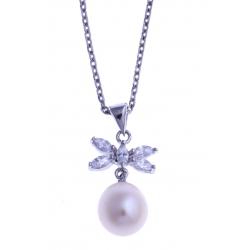 Collier en argent rhodié 3,3g - perle véritable blanche - zircons - 38+5 cm