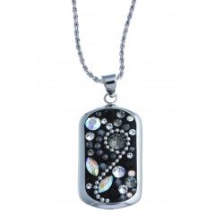 Collier argent rhodié 7,8g - cristal et perles de swarovski - 45 cm