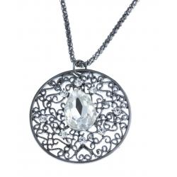 Collier fantaisie - vieil argent - cristal - 39+9 cm