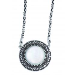 Collier fantaisie - vieil argent - résine blanche - 39+9 cm
