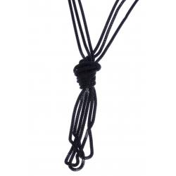 Sautoir fantaisie 3 rangs mailles noires - 120 cm