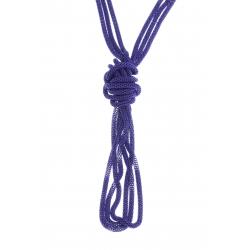 Sautoir fantaisie 3 rangs mailles violettes - 120 cm