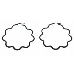 Créoles étoile - acier noir – 65 mm
