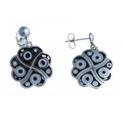 Boucles d'oreille en acier - nacre - émail
