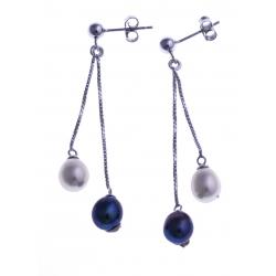 Boucles d'oreille en argent rhodié 1,5g - perles véritables blanches et noirs -