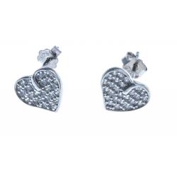 Boucles d'oreille en argent rhodié 1,6g - zircons