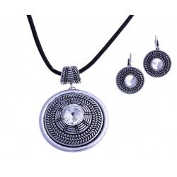 Parure fantaisie - collier vieil argent - cristal - cordon noir - 40+9 cm + bouc