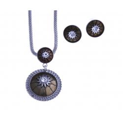 Parure fantaisie - collier plaqué argent email marron - cristal  - 40+9 cm + bou