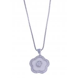 """Parure en céramique blanche - argent rhodié 7g """"fleur""""-AC 413 à 19€-513 à 21,8€"""