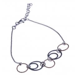 Bracelet argent rhodié 2 tons 3,4g - 18+3cm
