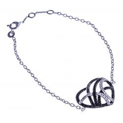 """Bracelet argent rhodié 3,1g """"coeur"""" - zircons noirs et blancs - 17+1+1cm"""