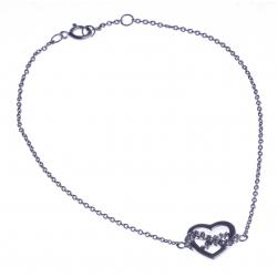 """Bracelet argent rhodié 1,4g """"coeur+infini"""" - zircons - 18+1cm"""