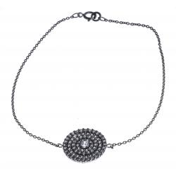 Bracelet argent rhodié 2,8g - zircons - 19cm