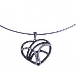 """Collier argent rhodié 8,5g """"coeur"""" - zircons noirs et blancs - 38+5cm"""