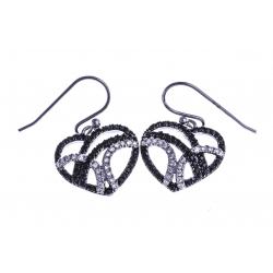 """Boucles d'oreille argent rhodié 3,4g """"coeur"""" - zircons noirs et blancs"""