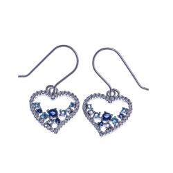 Boucles d'oreille argent rhodié 3,6g - zircons blancs, aquamarine et bleu saphir