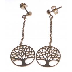 """Boucles d'oreille plaquées or """"arbre de vie"""" - chaîne 3cm"""