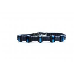 Bracelet acier 2 tons bleu et blanc - homme - cuir tressé bleu - 21 cm