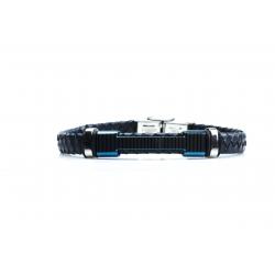 Bracelet acier 2 tons bleu et blanc - homme - cuir tressé noir - 21 cm
