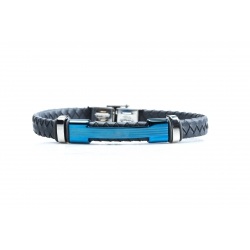 Bracelet acier 2 tons bleu et blanc - homme - cuir tressé gris - 21 cm