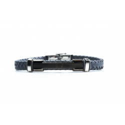 Bracelet acier 2 tons gris et blanc - homme - cuir tressé gris - 21 cm