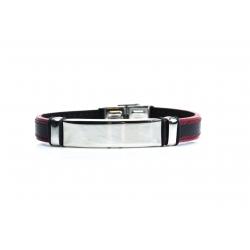 Bracelet acier - homme - cuir noir et finition rouge - 21 cm