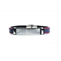 Bracelet acier - homme - cuir bleu et finition rouge - 21 cm