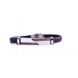 Bracelet acier 2 tons marron et blanc - homme - cuir tressé marron - 21 cm