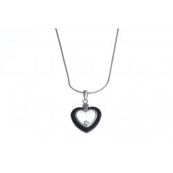 """Collier argent rhodié 4,3g """"coeur"""" - céramique noire - zircon - 40 cm"""