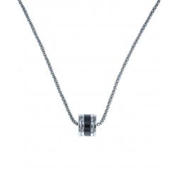 Collier argent rhodié 5,4g - céramique noire - zircons - 45 cm