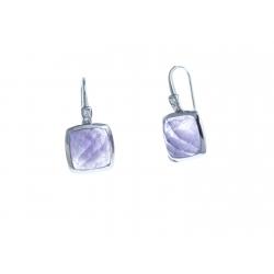 Boucles d'oreille argent rhodié 3g - améthyste - zircons