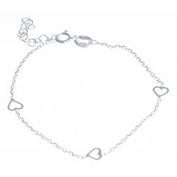 """Bracelet argent 1,4g """"cœurs"""" - 16+3cm"""