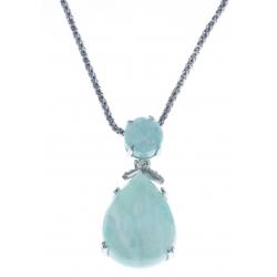 Collier argent rhodié 5g - amazonite - quartz - zircons - 45cm