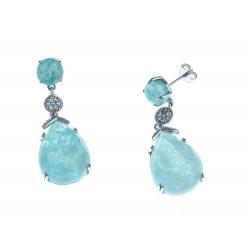 Boucles d'oreille argent rhodié 5g - amazonite - quartz - zircons