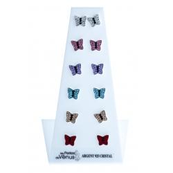 """Présentoir 6 bo argent 4,8g """"papillons"""" - cristal"""