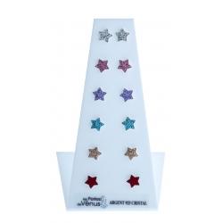 "Présentoir 6 bo argent 3,6g ""étoiles"" - cristal"