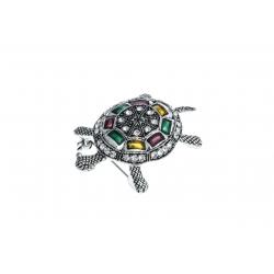 "Broche fantaisie ""tortue"" - vieil argent - cristal"
