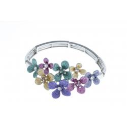 Bracelet fantaisie - époxy multicolore - strass - élastique