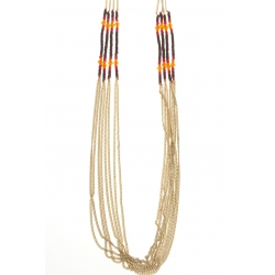 Sautoir fantaisie - finition dorée - perles mutlicolores - 80 cm