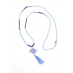 Sautoir fantaisie - finition argentée - perles mutlicolores - plume et pompon -