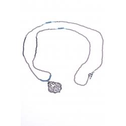 Sautoir fantaisie - finition rhodiée noire - perles mutlicolores - 70cm