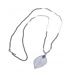 """Sautoir fantaisie """"feuille"""" - finition argentée - perles multicolores - 70cm"""