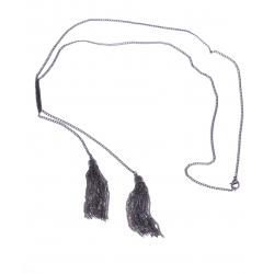 Sautoir fantaisie - finition rhodiée noire - 60cm