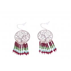 Boucles d'oreille fantaisie - finition rosée - perles multicolores