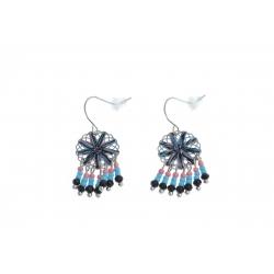 Boucles d'oreille fantaisie - finition argentée - perles multicolores