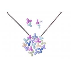Parure fantaisie - collier époxy multicolore - 41+8 cm + boucles d'oreille asso